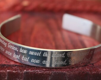 Amazing Grace Cuff Bracelet, Engraved Amazing Grace Cuff, Custom Made, Handmade
