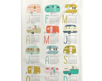Tea Towel Calendar Set - Happy Campers 2018 Tea Towel Calendar by Nadiahassan -Retro Linen Cotton Tea Towel Set by Roostery with Spoonflower