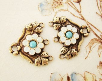 Antiqued Brass or Silver Rhinestone Flower Chandelier Earring Connector Swarovski White Opal & Turquoise Stones Multi Strand Link 20x18mm -2