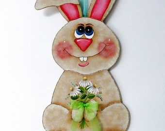 Daisies and Bunny, Folk Art Bunny, Big Eyed Bunny, Bunny Shaped Wood Hanging, Tole or Hand Painted, Spring Sign, Spring Flowers,Spring Bunny