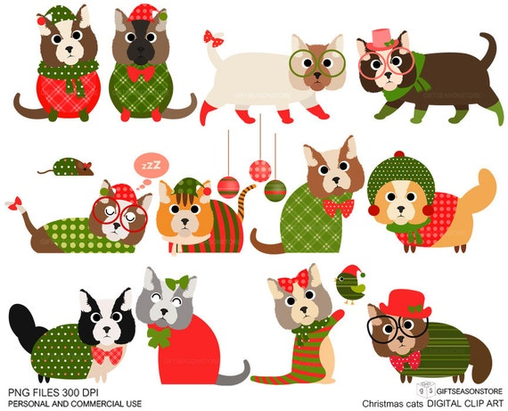 christmas cat clip art for personal and commercial use rh etsy com black cat christmas clipart christmas cat clip art free