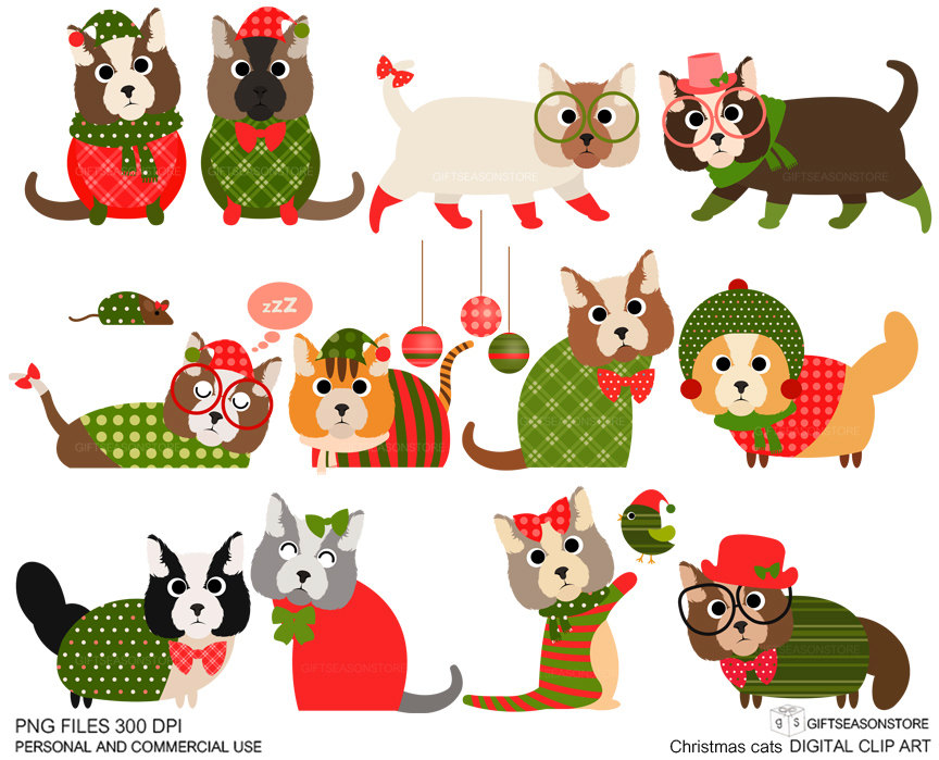 christmas cat clip art for personal and commercial use rh etsy com christmas cat clipart christmas dog and cat clipart