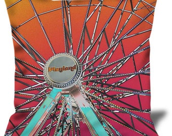 """Playland 2 22""""x22"""" Velveteen Pillow Cover Playland Park NYC"""