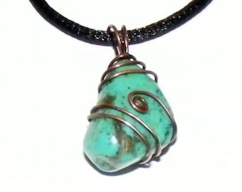 Genuine Mexican Turquoise Wire wrapped Pendant