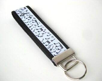 Wristlet Key Fob- Music Teacher Gift- Music KEY FOB- Wrist Keychain- Key Chain- Key Lanyard- Gift for Her- Gift for Him- Gift Under 10