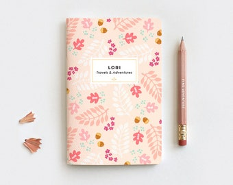 Thanksgiving Gift Autumn Personalized Journal & Pencil Set, Midori Insert - Fall Leaves Peach Floral Notebook, 3 Sizes