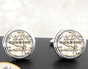 Cufflinks Richmond VA Handmade Cufflinks City Maps Virginia Groomsmen Wedding Party Fathers Dads Men
