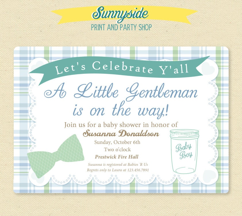 SOUTHERN GENTLEMAN Baby Shower Invitation Baby Boy Country