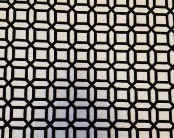 Kelly Black Cotton Linen Cut Velvet Geometric Upholstery Fabric