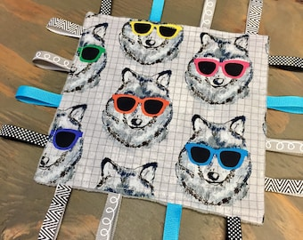 Ready to Ship, Wolves with Sunglasses Sensory Crinkle Tag Baby Toy by Cool 2 Drool, Wolf, Sunglasses, Too Cool, Baby Shower Gift