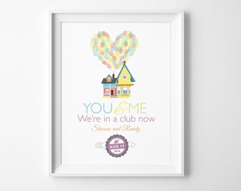 """Disney UP Wedding Ellie Badge, Greatest Adventure Wall Art - Printable Home Decor Inspired by Carl & Ellie """"You and Me, We're in a Club Now"""""""