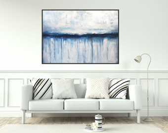 Large Painting Original Abstract Art On Canvas/ Nautical Wall Art White And Blue Painting Textured Acrylic Painting Made- To- Order