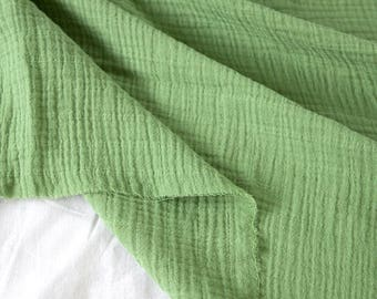"""Light Green Wrinkled Cotton Gauze, Double Gauze, Light Green Gauze, Crinkle Gauze, Yoryu Gauze - 59"""" Wide - By the Yard 99207"""