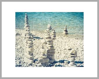 "11x14 Matted Print of ""Schoolhouse Beach Rock Cairns"""