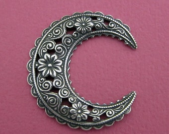 Large Silver Floral Crescent Finding 3522L