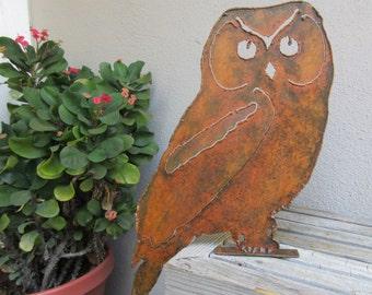 Perched Owl Metal Sculpture -- Garden Art, Yard Art, Owl Art, Metal Sculpture