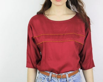 1980s Burgundy Three Quarter Sleeve Top Size UK 10, US 6, EU 38
