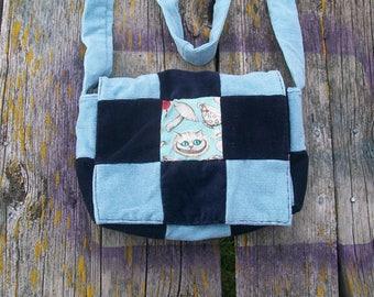 Blue Black Cheshire Cat Wonderland Recycled Corduroy Crossbody Purse Ready to Ship