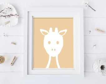 Giraffe Nursery Art - Animal Nursery Art - Yellow Nursery Print - Animal Nursery Print - Digital Download - Kids Artwork - Kids Art