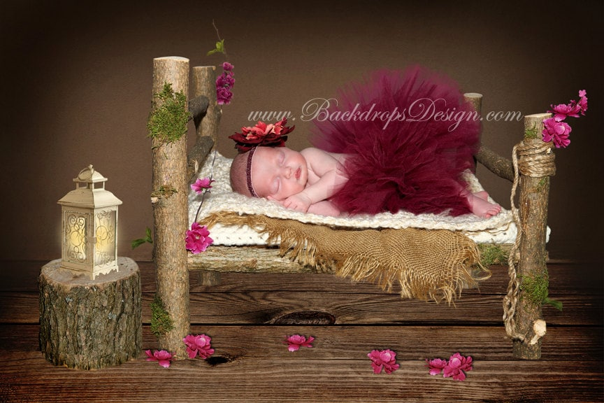 Attractive REAL WOOD Photo Prop Log bed Newborn photography prop hand RD74