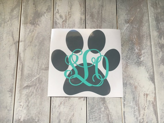 Monogram paw print car decal dog car decal paw print decal paw