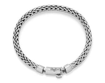 """8"""" Oxidized Woven Bracelet, 9.25 sterling silver"""