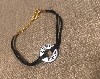 HUPOMENO greek word hand stamped washer bracelet - black