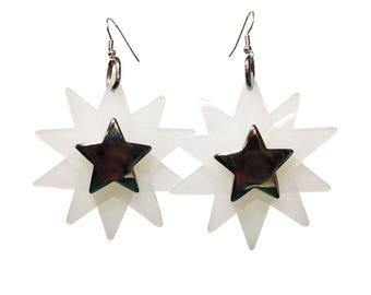 Star Bright Earrings - White Star Shaped PVC Earrings - Party Earrings with Silver plated earring fish hooks