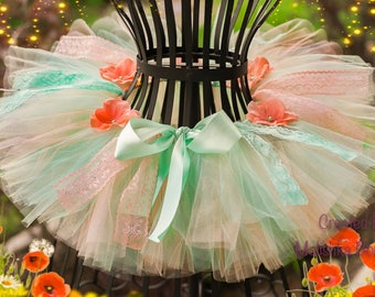 Mint Green Peach Tutu Lace Flowers Little Baby Girl First Birthday Outfit salmon coral spring sea foam beauty pageant ribbon newborn photos