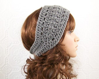 Crochet headband, boho head wrap, ear warmer - gray, grey or your color choice, Women's Winter Accessories SandyCoastalDesigns made to order