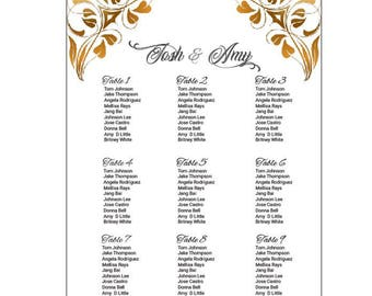 Elegant Wedding Table Assignments Board, Digital File, Wedding Seating Chart Poster, Wedding Place Cards, Table Settings, Table Listings
