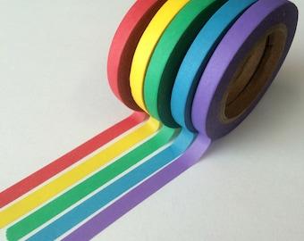 Skinny 5mm Solid Rainbow Washi Set