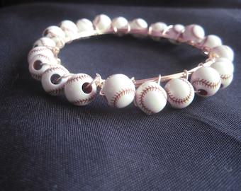 Baseball spiral Bangle