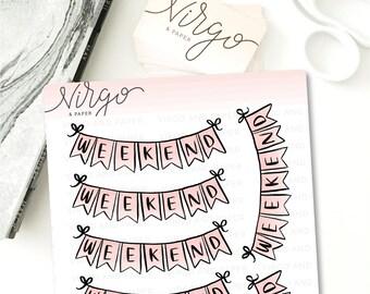 Weekend Banner Hand Drawn Planner Stickers - Pink Weekend Banner Doodle Stickers  - WB1