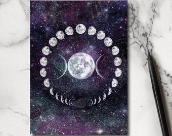 Galaxy Notebook - Moon Notebook - Moon Notepad - Galaxy Stationery - Jotter - Notepad
