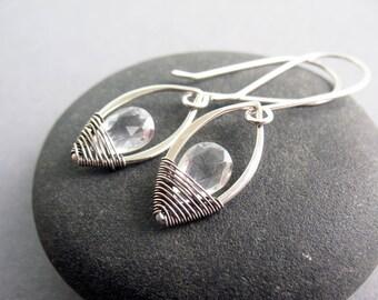 Delicate Crystal Earrings, Romantic Earrings, Dangle Earrings, Sterling Silver, Wire Wrapped, Lightweight Earrings, Sparkle Earrings