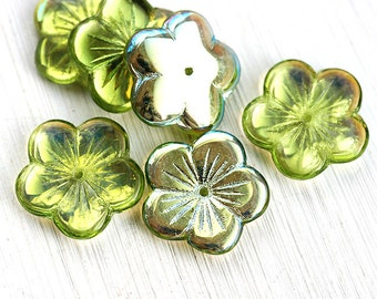20mm Large Flower beads Metallic Green with luster AB finish czech glass big flower - 6pc - 1758