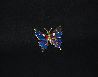 Butterfly brooch - vintage enamel blue and gold tone metal tin brooch pin - butterfly jewelry - insect brooch sweater hat pin - gift idea