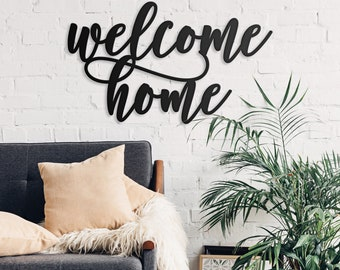 Elegant Scripted Welcome Home Sign, Front Door Sign, Entryway Sign, Cutout Word  Signs,