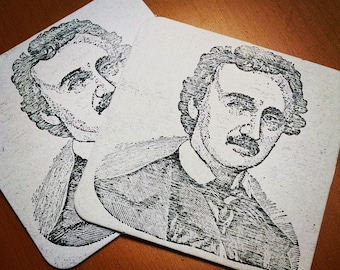 Edgar Allan Poe Coasters, for Halloween or Whenever (set of 4)