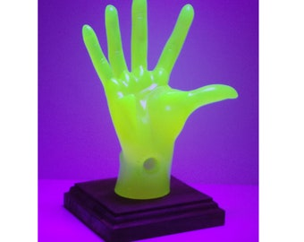 Neon Yellow Female, POP-Hands, Colorful device holder for phones, tablets, business cards, etc. Customize the base color