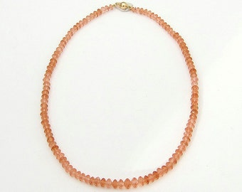 Necklace with Hessonite Garnet, 16 inches