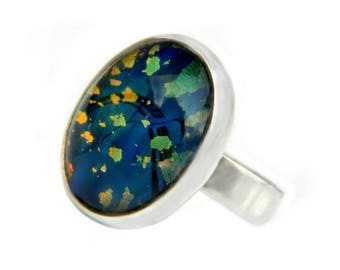 Blue Art Glass Sterling Silver Ring Starry Night Celestial Mosaic Iridescent Glowing Glass And 925 Jewelry Gift Idea For Women Size 7 3/4