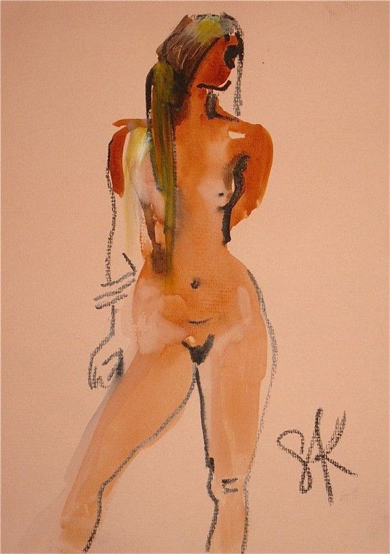 Nude painting- #694 - original painting by Gretchen Kelly