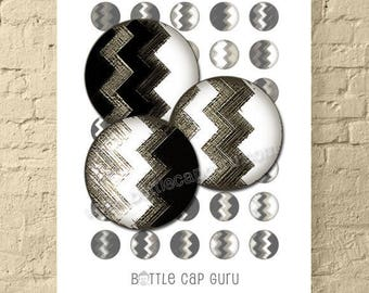 GEOMETRIC ZIGZAGS / Black White & Gray 1 Inch Circles Digital Collage Sheet for Jewelry, Crafts / Printable Round Images // Instant Download