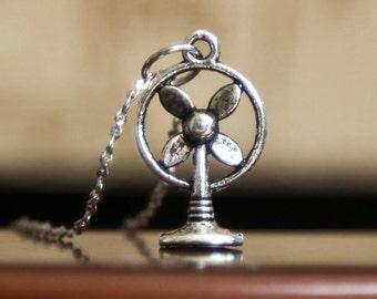 Silver Fan Charm Necklace- Blow Drying Fan- Vintage Style Jewelry- Fun Gift Idea- Fashion Trends
