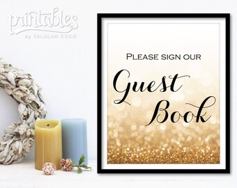 Guestbook Sign, Customizable Wedding Guest Book Sign, Please Sign our Guestbook, Printable Guestbook, Glitter Guestbook Sign, Wedding Sign