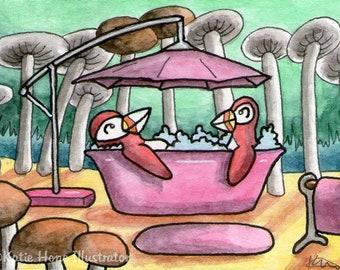 Puffins bath parasol mushrooms wall art miniature art ATC Gift Art Trading Card Whimsical Original ART ACEO Watercolor - Katie Hone