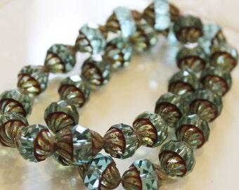 Czech Glass Turbine  Beads 11x10mm Blue aqua with picasso