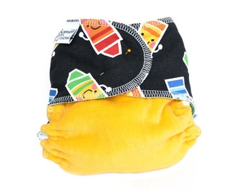Cloth Diaper Fitted, One Size, Crayons - Add Snaps, Hook and Loop, or Pins